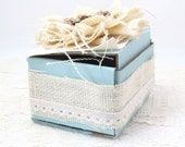 Shabby Chic Box - Small Decorative Box - Ivory and Blue - Gift Box - Small Keepsake Box - Rustic Style - Ivory Burlap - Gift Card Holder