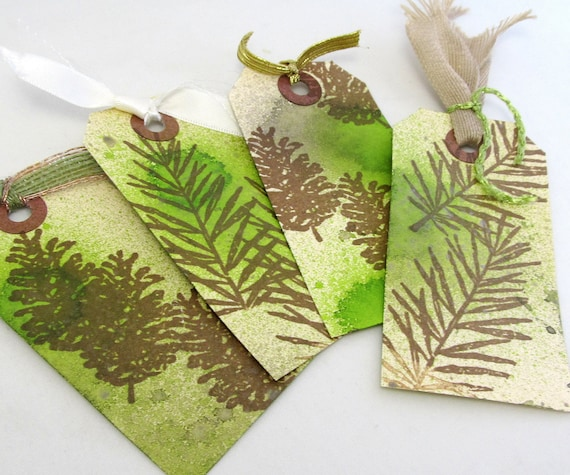 Woodland Theme Gift Tags - Pine Tree Tags - Set of Four Tags - Pine Needle Tags - Watercolor Tags - Rustic Gift Tags - Green and Brown Tags