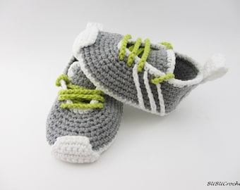 Crochet baby shoes Crochet baby booties 0-3 months Gray baby shoes Crochet Sneakers  Gray baby slippers Soft sole baby shoes  Boy sneakers