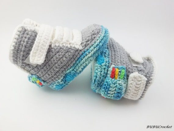Crochet Patterns For Children s Shoes : Crochet baby shoes Baby Booties Crochet Air Mag by BUBUCrochet