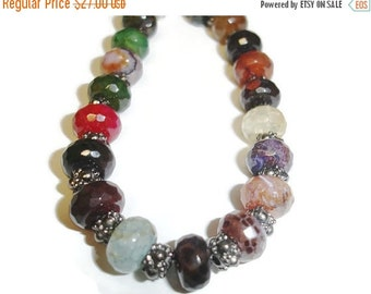 40% OFF SALE Agate Rondelle and Gunmetal Accent 9 inch Bracelet