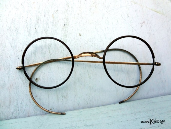 Eyeglass Frames Made In The Usa : Antique Round Eyeglasses Frames Made in U.S.A. by sameKVintage