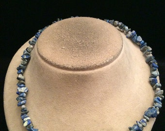 Vintage Shades Of Blue Glass Stone Necklace