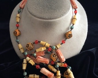 Vintage Long Multi Colored Beaded Necklace