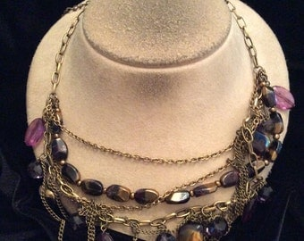 Vintage Chunky Black Gold Colored & Purple Mixed Glass Beaded Necklace