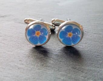 Forget-me-not Cufflinks - Men's Cuff links - Wedding Accessories - Silver Cuff links - Flower Cuff links - Wedding Jewellery
