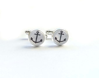 Anchor Cuff links - Men's Cuff links - Wedding Accessories - Silver Cuff links - Nautical Cuff links - Wedding Jewellery - Father's Day Gift