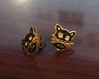 30% DISCOUNT SALE Vintage Precious Cat Black Kitten Goldtone Earrings (#2)