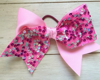 Pink sequence large cheer bow, sparkle, big bow, cheerleading, team order, breast cancer, softball, volleyball, hair bow, headband