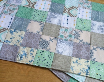 Set of 4 - Patchwork Placemats - Quilted Placemats - Mint, Gray and White Placemats - Fall Placemat Set - Thanksgiving Placemats