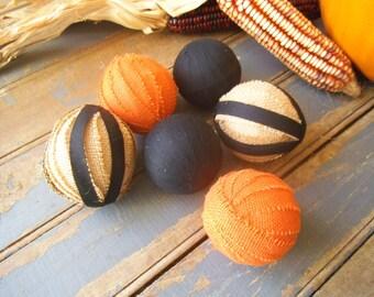 Primitive Rag Balls, Fall Bowl Filler, Fall Ornies,  Burlap Balls, Rag Ball Ornies, Primitive Decor, Rustic Decor, Bowl Fillers