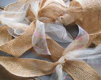 Burlap Garland -Rustic Garland - Wedding Garland - Floral Garland - Rustic Wedding - Wedding Decor -Ivory -  Set of Two 6 Foot Garlands -