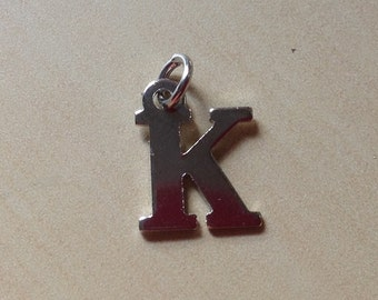 Letter Initial Charm- Choose a Initial-one single Letter-dangle-hang purse jewelry bracelet-keychain-Bag