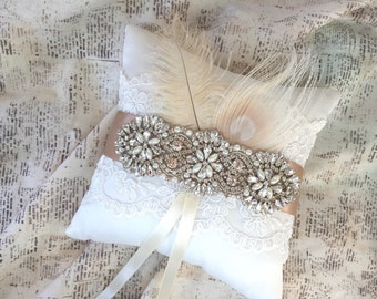 Ring Bearer Pillow, Ring pillow rustic, lace ring pillow, ring bearer pillow and flower girl basket, crystal ring pillow, rustic ring pillow