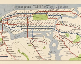 New York City Subway Map from 1924: Old Subway Map Print