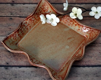 Ceramic Square Plate - Serving Plate - Appetizer Plate -  Jewelry Tray - Home Decor - Hostess Gift - Ceramics and Pottery