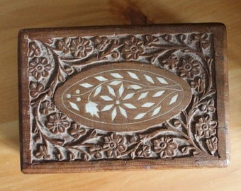 Rosewood Carved Jewelry Box c1970s