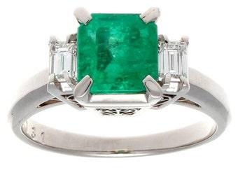 Emerald Diamond Platinum Engagement Ring