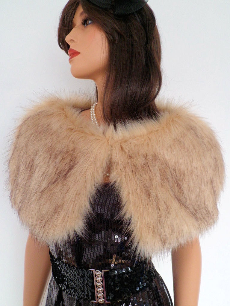 champagne fur capelet beige fur stole fake fur wrap shrug. Black Bedroom Furniture Sets. Home Design Ideas