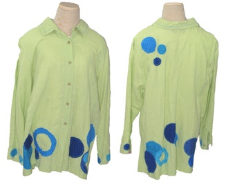 Women's 2x Plus Size Funky green Linen Shirt / Upcycled Clothing by UpCdooZ / Eco Clothing / Artsy / One of a Kind / Appliqued