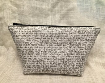 Handwriting Zipper Clutch