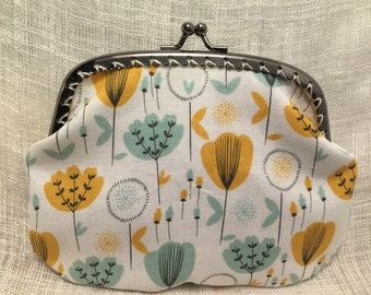 Large Blue and Yellow Flowers Coin Purse