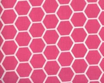 Pink fabric by the yard - pink honeycomb fabric - pink cotton - #16425