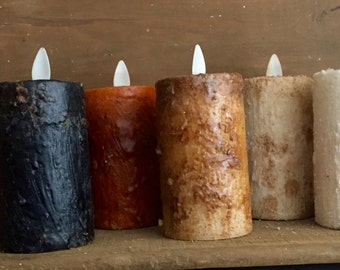 "2.5x3"" Primitive moving flame TIMER  votive candle,"