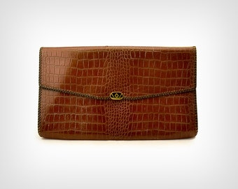 40s Purse // 1940's Crocodile Textured Brown Leather Clutch w/ Ostrich Lining