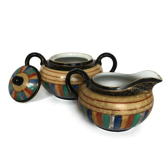 Vintage thousand faces cream and sugar set Japanese painted porcelain