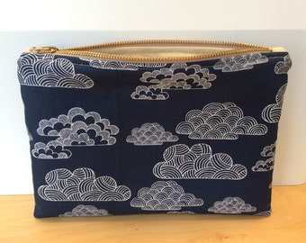 Cotton/Linen and Organic Fabric Lined Zipper Pouch