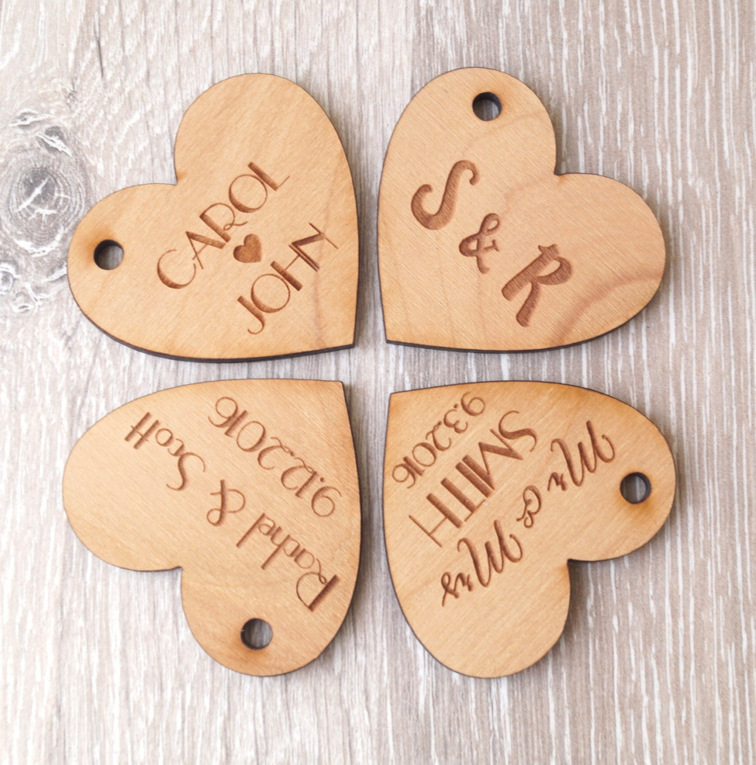 Wedding favor tags personalized wooden tags heart tags