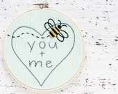 You + Me Hoop Art - Felt and Embroidery Woodland Nursery - Baby Shower Gift / Decor - Nursery and Child Decor - Bumble Bee on Faux Bois