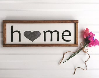 Home Sign . Home Sweet Home . Fixer Upper. Home is Where the Heart is .Framed Sign . 19 x 6.5 . Wood Sign Sayings . Wood Sign . Rustic Sign