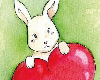 "Handmade postcard with lovable rabbit//""Somebunny loves you""//nice to give"