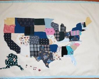USA map wall hanging display