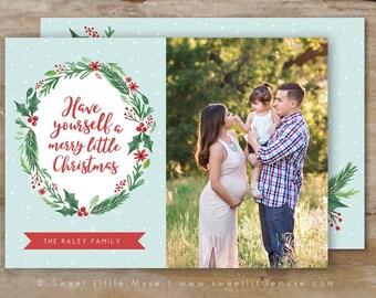 Christmas card template - Watercolor Christmas card template - Holiday card template - Hand Painted Christmas Card