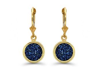14k solid yellow gold steel blue drusy stone lever earrings. fancy earrings, sparkle earrings