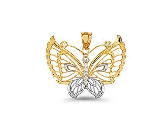 14k solid gold two tone diamond accent butterfly pendant.
