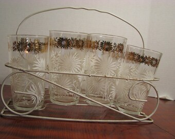 Vintage Anchor Hocking Tumblers Glasses White and Gold Flowers...Set Of 8 with Wire Rack