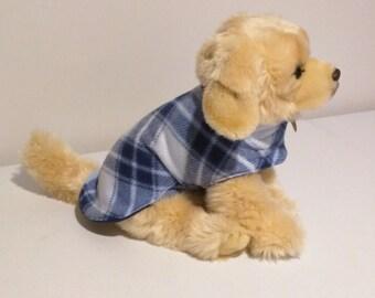 Blue diamond fleece reversible dog coat