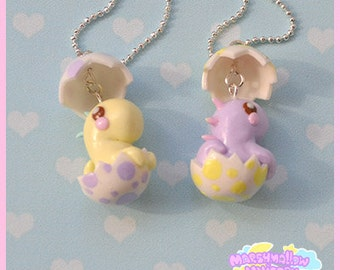 Baby dinosaur necklace cute and kawaii pastel colors