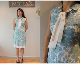 SALE - 1960s Pale Blue & White Floral Print Shift Dress