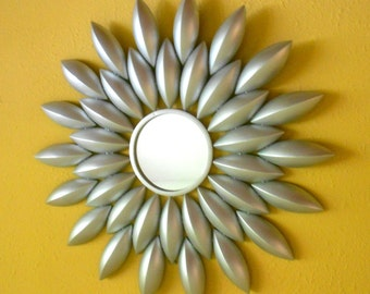 "33"", Wall Mirror,Sunburst Mirror, Silver Mirror, Round Mirror, Decorative Wall Mirror, Silver Sunburst Mirror, Sunburst Wall Art,Item SSM002"