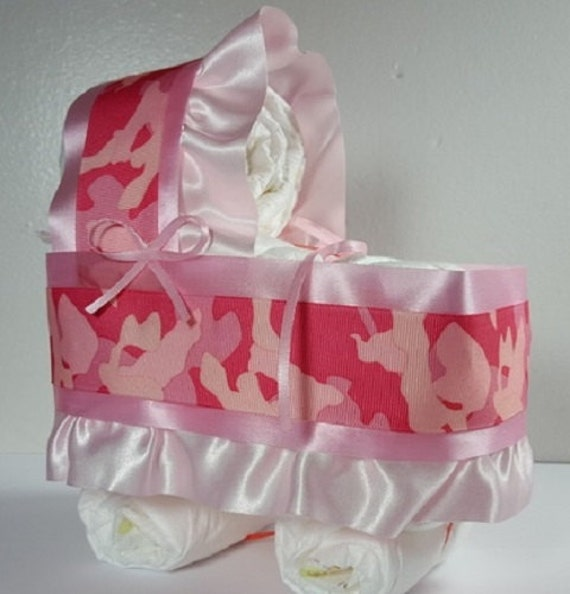 camo pink diaper bassinet baby shower gift table decoration