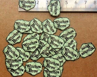 30 small loose peel back glitter dust labels / stickers 'Witches Brew' for Halloween dust bottle charms, gothic ,witch, crafts