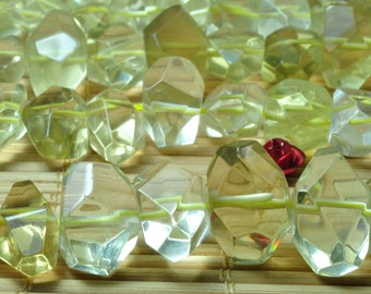 15 inches of  Natural Lemon Quartz faceted nugget beads in 9-10 wide X 13-16mm length
