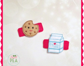 Milk and Cookies Hair Clips - Back to School Hair Accessories - Hair Clips - Alligatoe Clips - Cookies Hair Clips - Milk Hair Clips