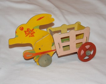 Antique Heavy Cardboard Easter Rabbit and Cart