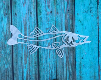 Snook Metal Wall or Garden Art, Great gift for Fisherman, Father's Day, aluminum, indoor or outdoor, won't rust or tarnish